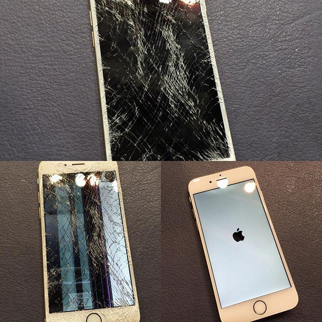 iPhone 6、こんなにバキバキで画面が映らなくなっても治ります!